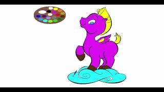 Мультик раскраска - лошадка Пони Пегас