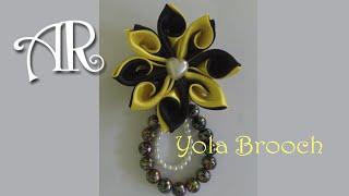 Ribbon Flower : Yola Kanzashi Brooch /  Yola Broche Kanzashi / Yola Kanzashi ब्रोच