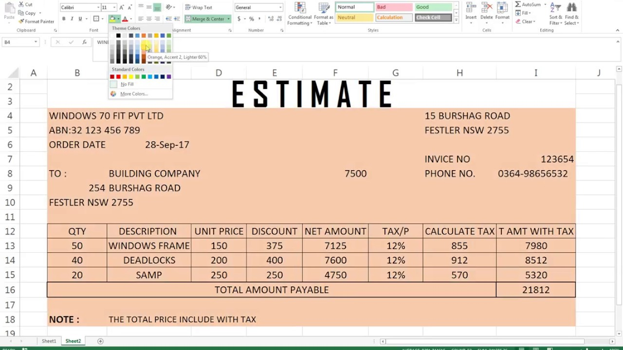 39 estimate sheet excel hindi youtube