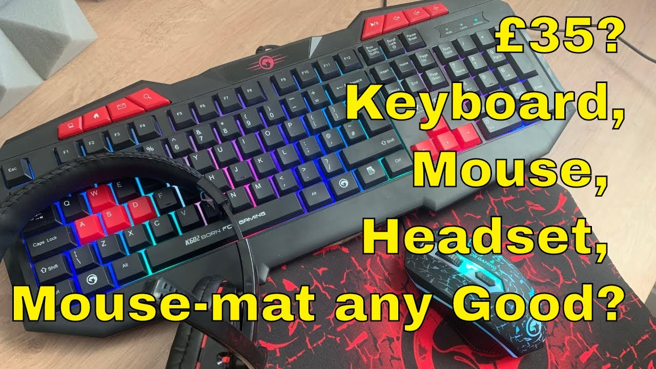 Marvo Scorpion Cm375 4 In 1 Gaming Starter Kit Keyboard Mouse Headset And Mouse Mat Review Youtube