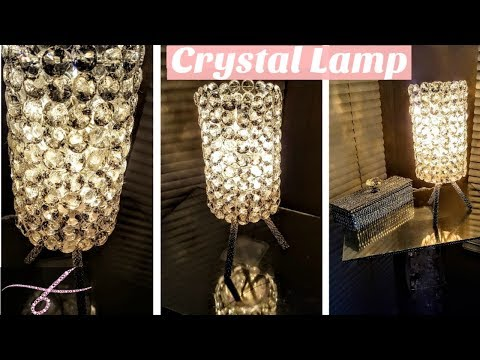 DIY Crystal Table Lamp with Dollar Tree Materials - Glam Room Decor - With power cord - Easy & Cheap