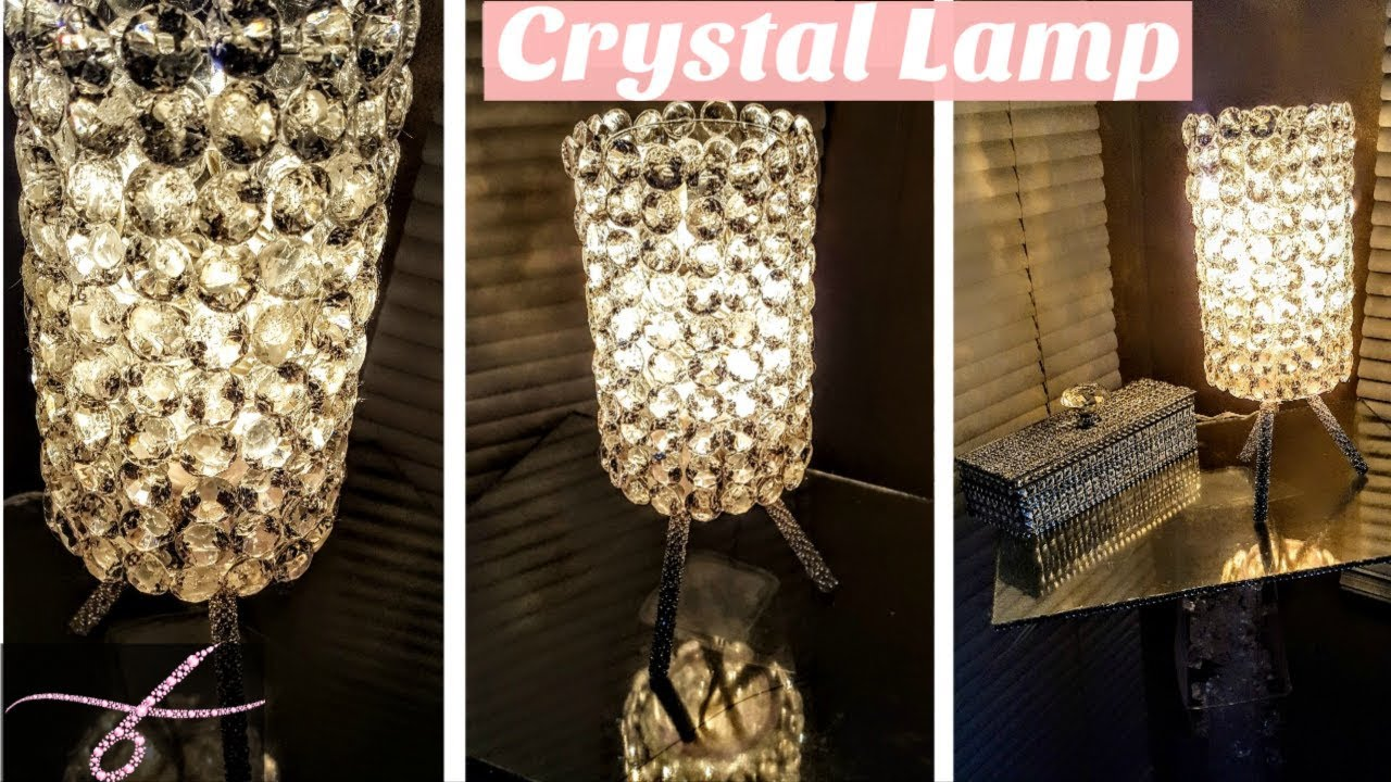 DIY Crystal Table Lamp with Dollar Tree Materials  Glam