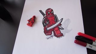 How to draw Deadpool - Marvel Superheroes - Lego Speed Draw #53