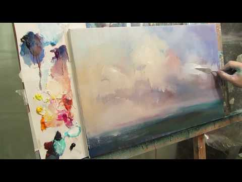 Marine painting by oil. Sea. Bright day. Part 1
