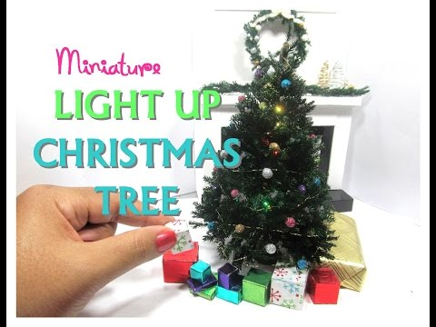 DIY Realistic Light Up Christmas Tree Moss Dollhouse Miniature