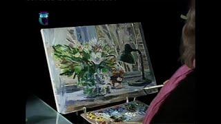 Уроки рисования (№ 99) акрилом и масляной краской . Рисуем натюрморт с букетом и настольной лампой