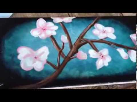 Cherry blossom canvas painting youtube for Canvas painting of cherry blossoms