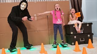 Game Master Challenges Us! Giant Hover Shoe Game Obstacle Course! GYROOR Gyroshoes