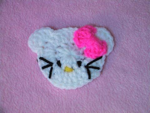 Πλεκτη Απλικε Hello Kitty / Hello Kitty Applique Crochet Tutorial