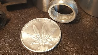 Making a BEAUTIFUL Cannabis Cures Coin Ring. Silver Shield 1oz .999 Pure Silver. Size 13. Stunning!