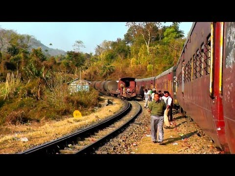Freight Crossing at Phiding - Agartala-Lumding Exp. (Feb. 28, 2013)