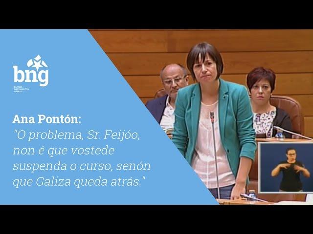 """Ana Pontón: """"O problema, Sr. Feijóo, non é que vde suspenda o curso, senón que Galiza queda atrás"""""""