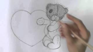 Уроки рисования  Как нарисовать мишку ТЕДДИ с сердечком  на ДЕНЬ СВЯТОГО ВАЛЕНТИНА 1