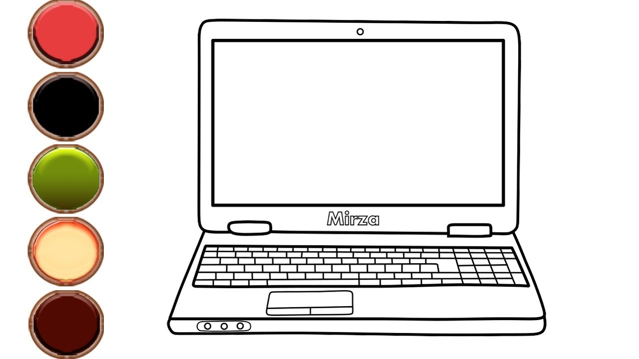 How to Draw and Color Laptop Computer Coloring Pages for ...