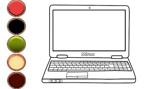 How to Draw and Color Laptop Computer Coloring Pages for Toddlers   Mirza Colors Kids