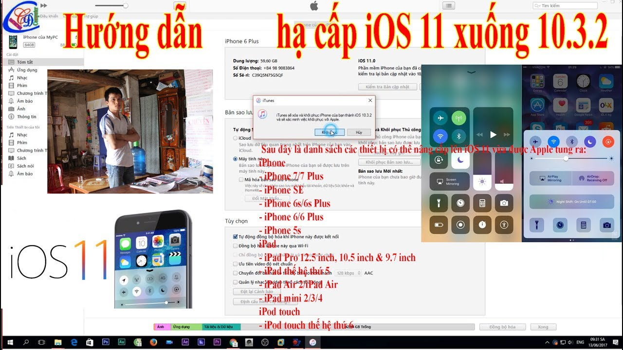 iOS 11 beta Hướng dẫn hạ cấp xuống iOS 10.3.2 II How To Install iOS 11 Beta 1 FREE