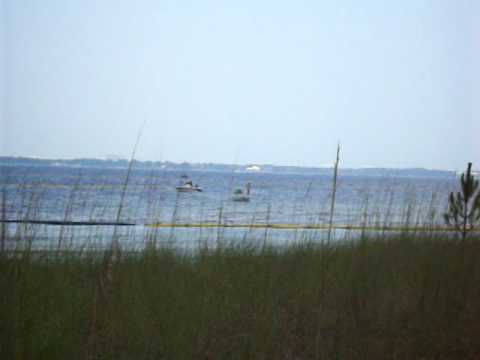 OIL BOOMS SET OUT IN PANAMA CITY FL., ST. ANDREWS BAY