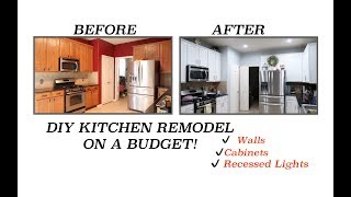 DIY KITCHEN REMODEL | UPDATING OUR KITCHEN ON A BUDGET | WALLS, KITCHEN CABINETS,  RECESSED LIGHTS