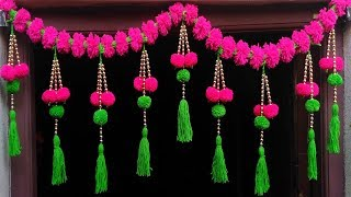EASY DOOR HANGING TORAN MAKING CRAFT DECORATION IDEAS  FROM WOOLEN  DOOR HANGING
