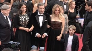 John Travolta, Kelly Preston and kids on the red carpet for the Premiere of Solo: A Star Wars Story
