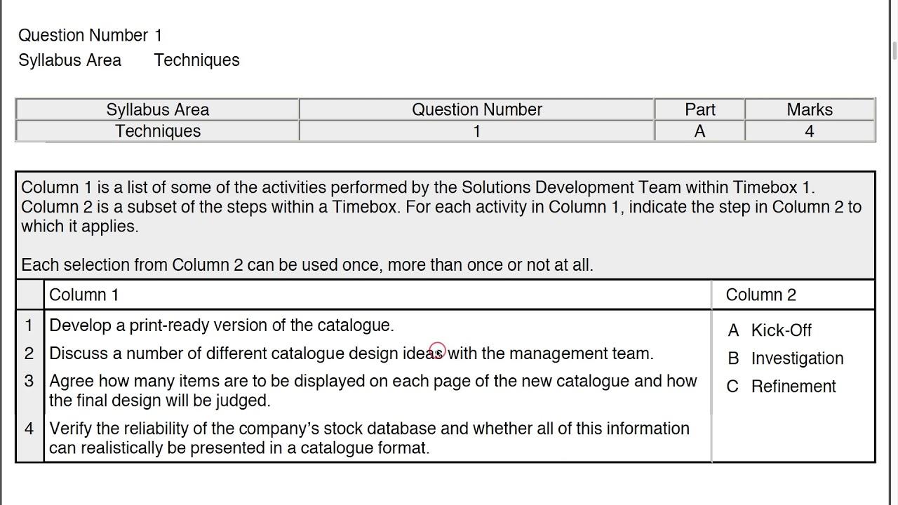 AgilePM v2 Practitioner Practice Paper Q1 Part A