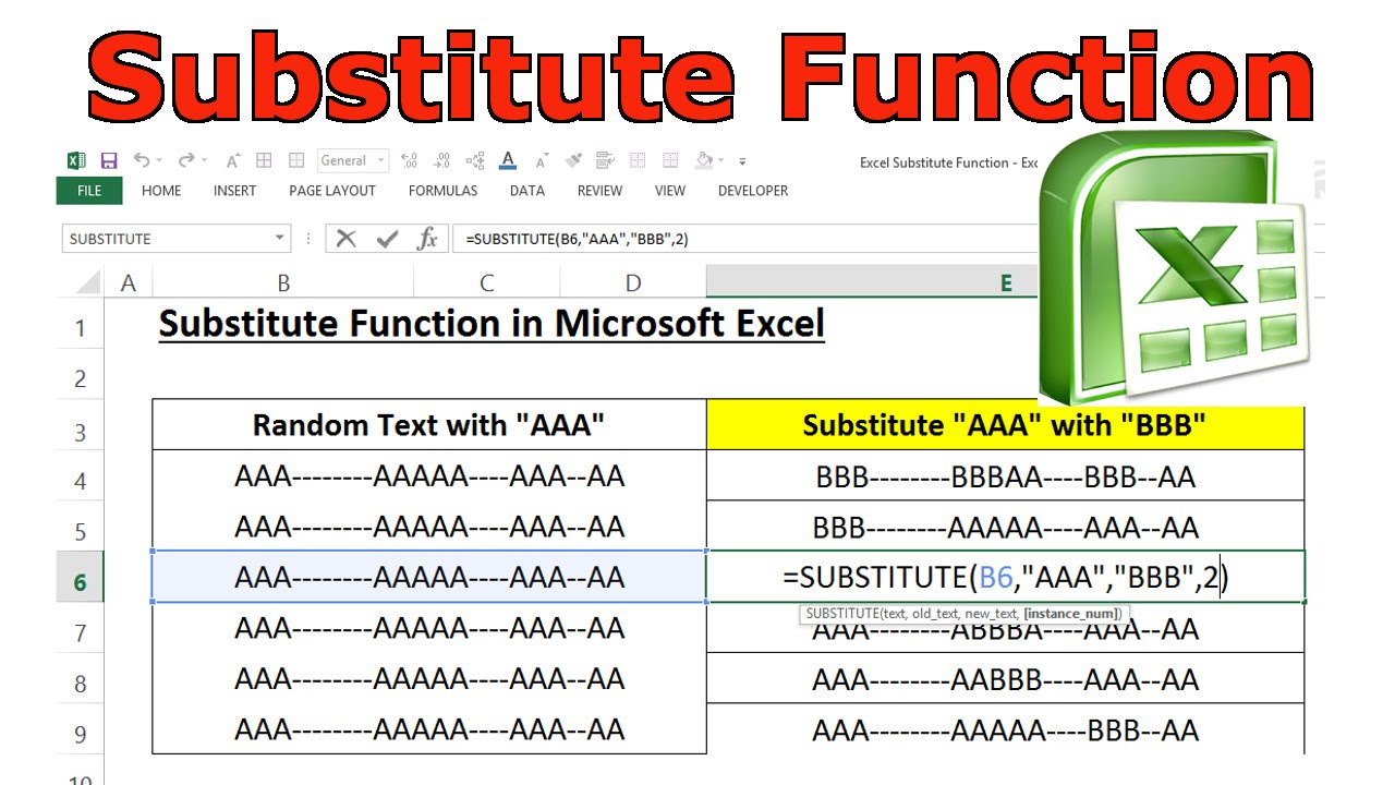 substitute function in microsoft excel