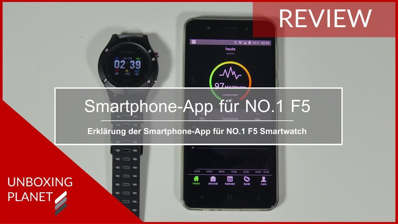 erkl rung smartphone app f r no 1 f5 smartwatch unboxing. Black Bedroom Furniture Sets. Home Design Ideas