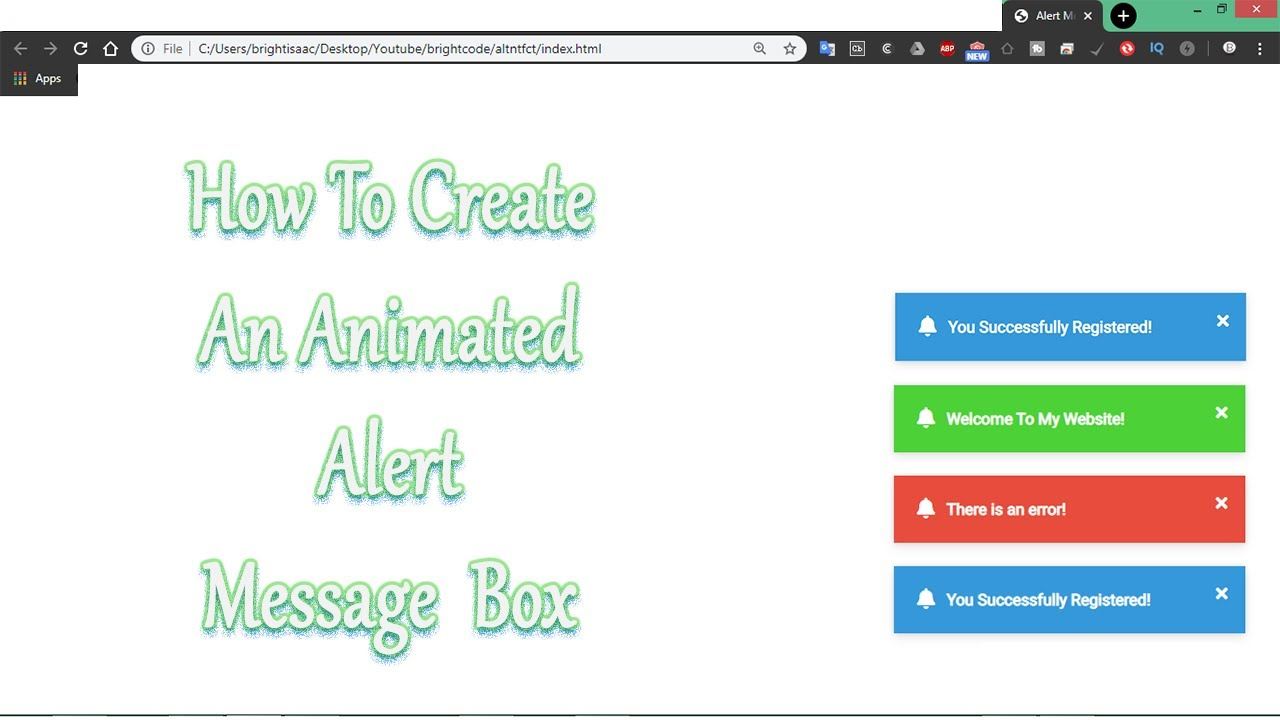 How To Create An Animated Alert Message Box Using Html CSS