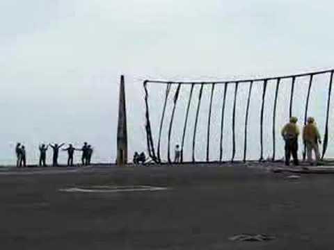 Raising the crash net on USS Enterprise