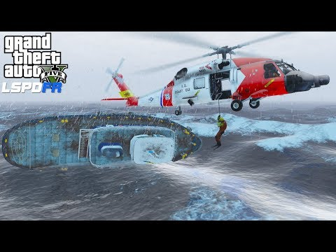 GTA 5 LSPDFR COASTAL CALLOUTS | BOAT FLIPS OVER DUE TO HIGH WAVES | COAST GUARD HELICOPTER RESCUE