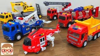 はたらくくるま ビークルランドのショベルカー&トレーラー、ダンプトラック、消防車、レスキューヘリコプター、レッカー車、キャリアカー!事故や動物を救助に行くよ!