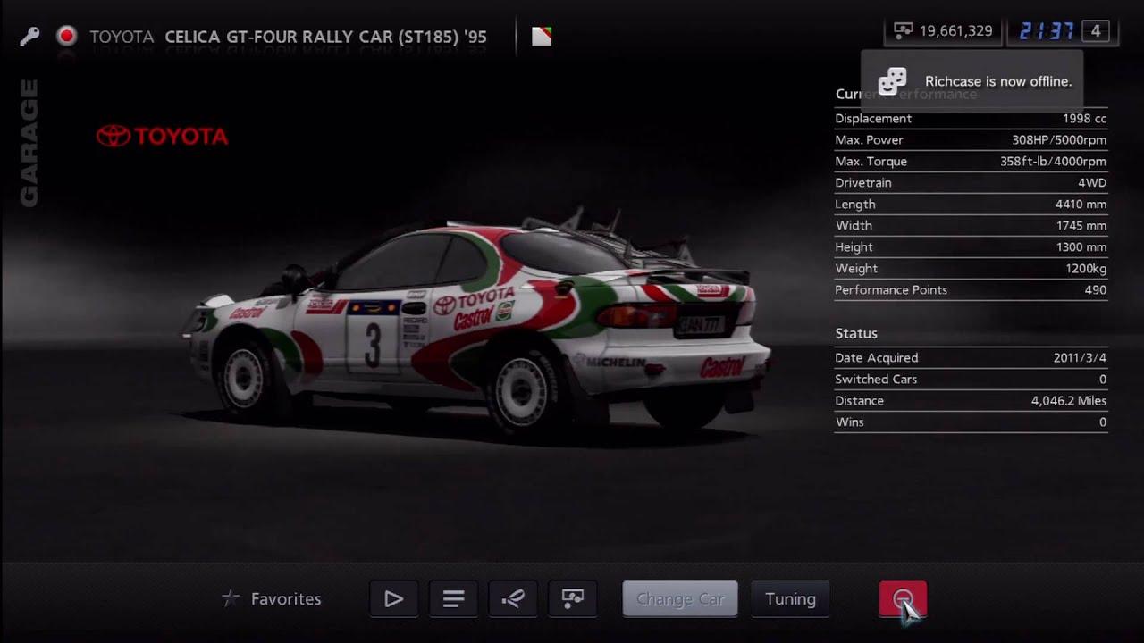 Gran Turismo 5 Toyota Celica Gt Four Rally Car St185