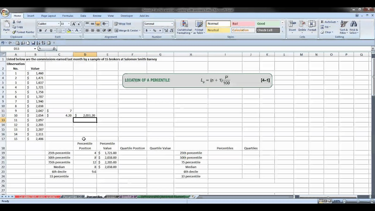 Percentiles, Deciles, Quartiles using Excel