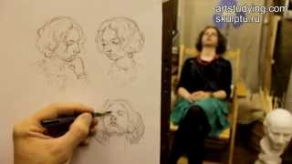 Обучение рисунку. Портрет. 6 серия: наброски модели с разных ракурсов