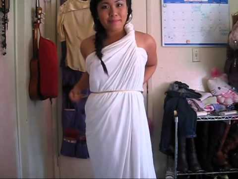 2 Minutes Greek Goddess Costume No Sewing Reupload Youtube