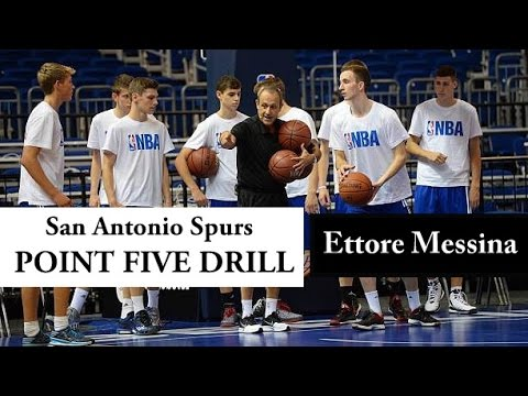 Ettore Messina: POINT FIVE DRILL (Spurs Basketball)