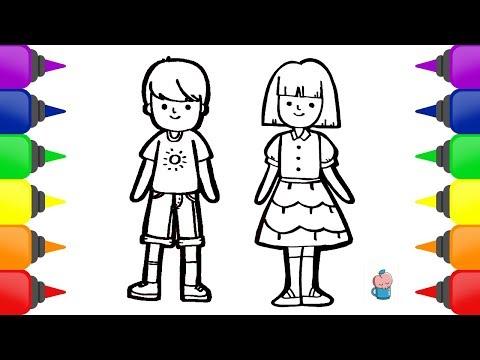 Cara Menggambar Dan Mewarnai Orang Perempuan Dan Laki Laki How To Draw And Color Boys And Girls Youtube