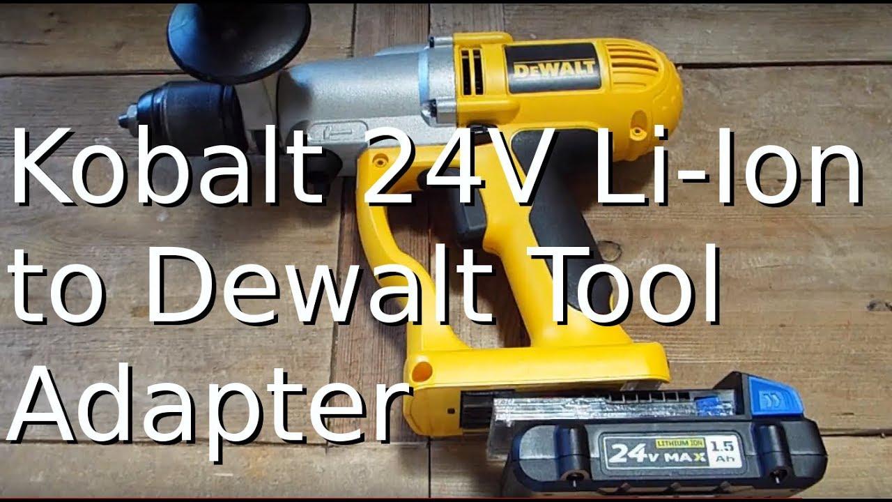 24v dewalt tool to kobalt 24v battery adapter youtube