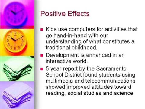 negative effects of technology on children Based on the information, it is clear that the high use of technology by children has a negative effect on their physical and mental well being child obesity in relation with technology is very high, and is an obvious cause of health problems in children.