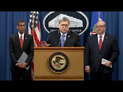 Attorney General Barr and DOJ Officials Announce Significant Law Enforcement Actions Relating to..