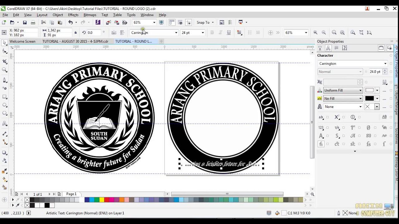 CorelDraw X7- How to design an Amazing Round Logo