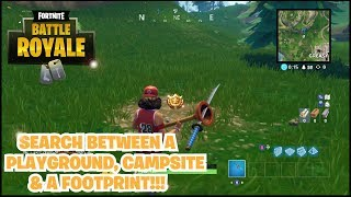 "Fortnite Battle Royale ""Search between a Playground, Campsite, and Footprint!"" Battle Pass Challenge"