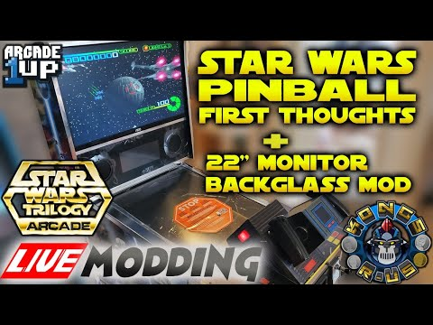 """Arcade1up Star Wars Pinball First Thoughts + 22"""" Monitor Install & Modding Potential - LIVE Modding from Kongs-R-Us"""