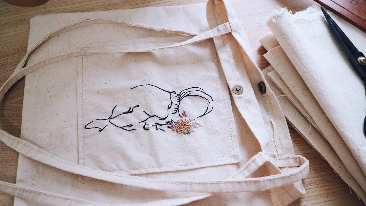 making #diy aesthetic tote bag. hand sewing