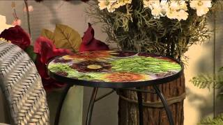 Indoor/outdoor Floral Glass Accent Table By Evergreen With Alberti Popaj