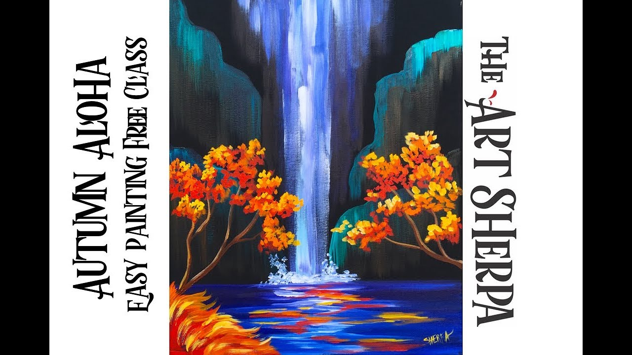 autumn aloha tropical waterfall step by step acrylic painting on canvas for beginners youtube. Black Bedroom Furniture Sets. Home Design Ideas