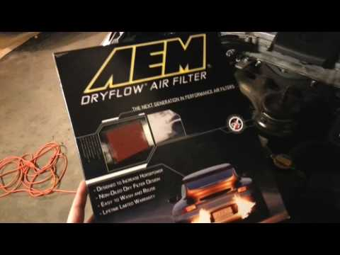 AEM dryflow drop-in air filter review on a 2012 Toyota Camry SE