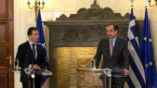 NATO Secretary General with Prime Minister of Greece - Joint Press Point