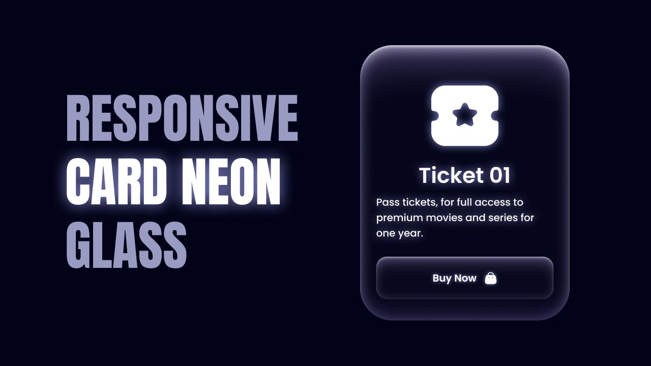 Responsive Card Neon Glass Using HTML & CSS   Hover Effects Animation