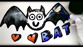 Painting Bat Painting Pages Coloring Pages for Kids, Learn to Color with Paint